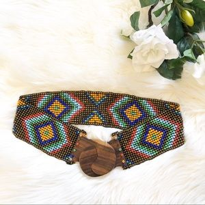 Anthropologie Beaded Stretch Belt Wood Clasp